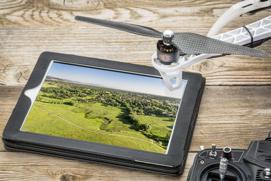drone aerial photography concept - reviewing aerial picture of C